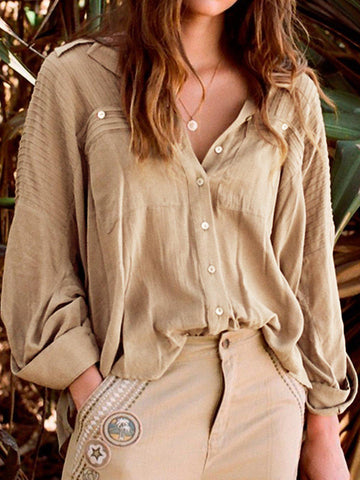 Shirt Collar Long Sleeve Casual Pockets Shirts & Tops-Top-Wotoba-Khaki-S-Wotoba