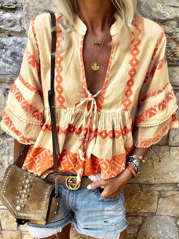 Orange Casual Tribal V Neck Shirts & Tops-Top-Wotoba-Wotoba