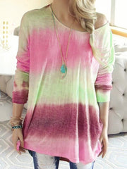 Casual Long Sleeve Ombre/tie-Dye T-shirts & Tops