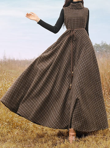 Plaid Vintage Turtleneck Sleeveless Turtleneck Long Dress-dress-Wotoba-Brown-S-Wotoba