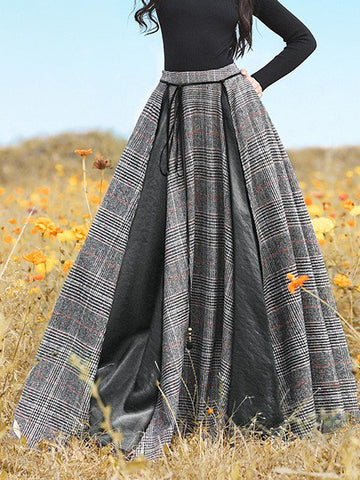 Plaid Skirt Vintage Lace Up Plus Size Long Skirts-dress-Wotoba-Black-S-Wotoba