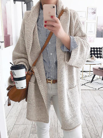 Women Cardigan Shawl Collar Knitted Plus Size Cardigan Outerwear