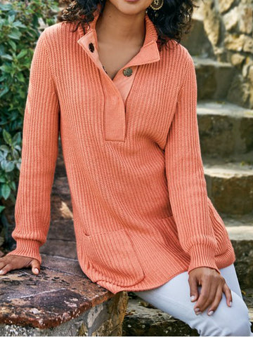 Knitted Plain Sweater-Top-Wotoba-Orange-S-Wotoba