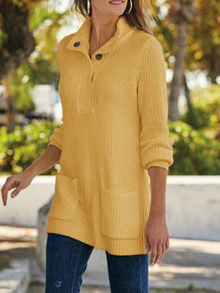 Women Sweater Knitted Long Sleeve Shawl Collar Long Sweater for Fall Winter-TOPS-Wotoba-Yellow-S-Wotoba
