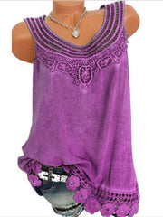 Women Solid Sleeveless Lace Tops Plus Size-TOPS-Wotoba-Purple-S-Wotoba