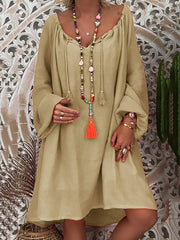 Daytime Long Sleeve Summer Solid Shift Loose Dress-dress-Wotoba-Khaki-S-Wotoba
