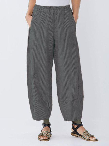 Daily Plus Size Pockets Cotton Linen Pants-Bottom-Wotoba-Deep Gray-S-Wotoba