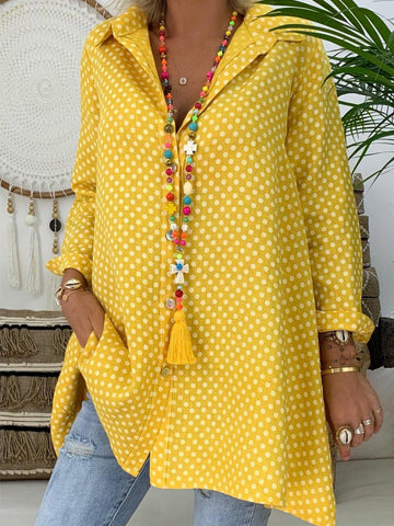 Long Sleeve Polka Dots Shirt Collar Vintage Blouse-Top-Wotoba-Yellow-S-Wotoba