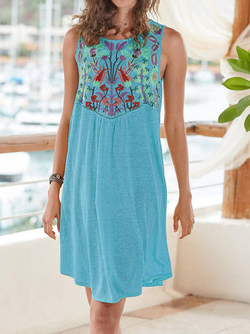Floral Sleeveless Round Neck Dresses-dress-Wotoba-Blue-S-Wotoba