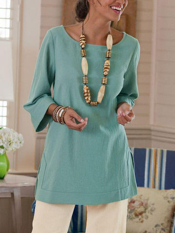 Casual 3/4 Sleeve Round Neck Shirt-Top-Wotoba-Green-S-Wotoba