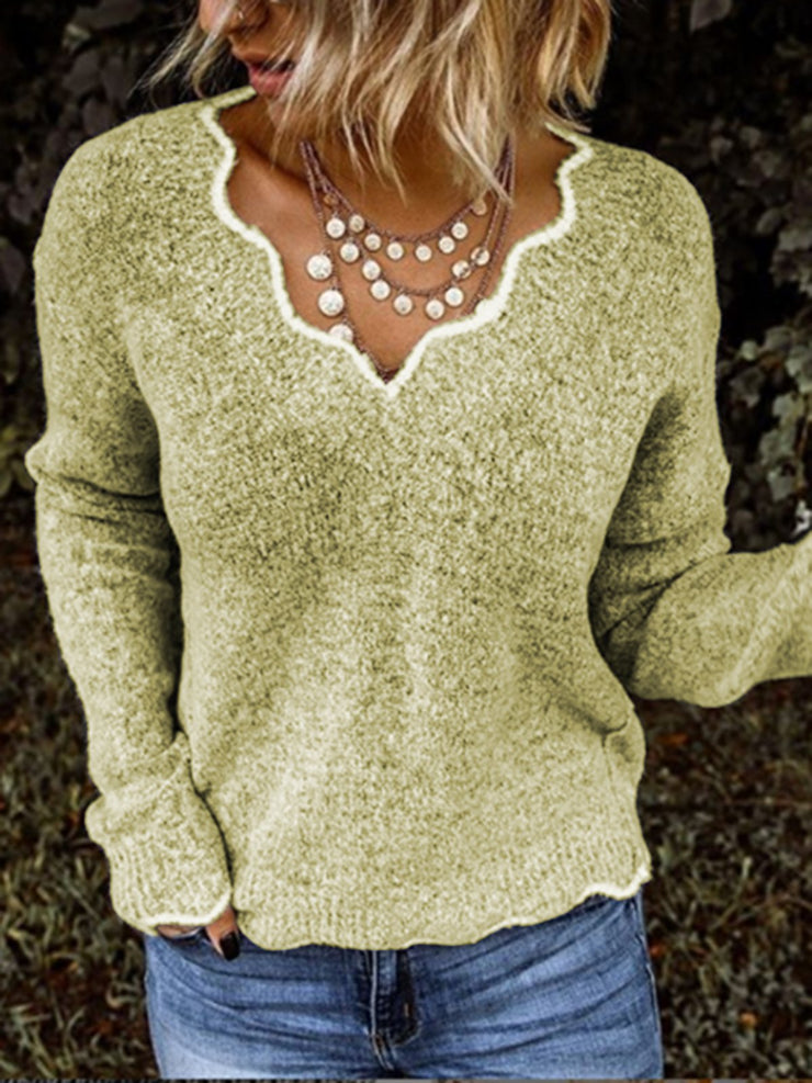 Women Sweaters V neck Solid Knitted Loose Plus Size Pullover Sweaters Plus Size-TOPS-Wotoba-Khaki-S-Wotoba