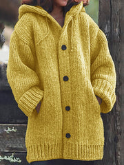 Women Knitted Cardigan Casual Button Plus Size Sweatear with Hoodie Burlington Coats-TOPS-Wotoba-Yellow-S-Wotoba