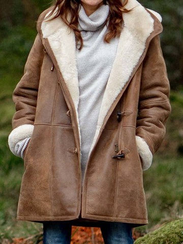 Women Coat Casual Long Sleeve Plus Size Outerwear with Hoodie for Fall Winter-Top-Wotoba-Brown-S-Wotoba