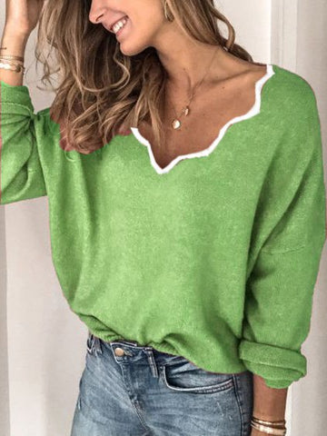 Long Sleeve Casual Sweater-Top-Wotoba-Green-S-Wotoba