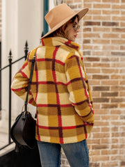 Women Plaid Teddy TShawl Collar Color-Block Long Sleeve Jackets