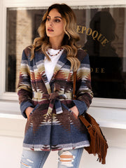 Women Vintage Tribal Lapel Long Sleeve Outerwear Coat With Belt