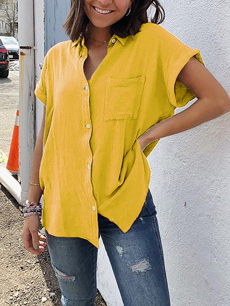 Shirt Collar Short Sleeve Buttoned Pockets Plus Size Shirt-TOPS-Wotoba-Yellow-S-Wotoba