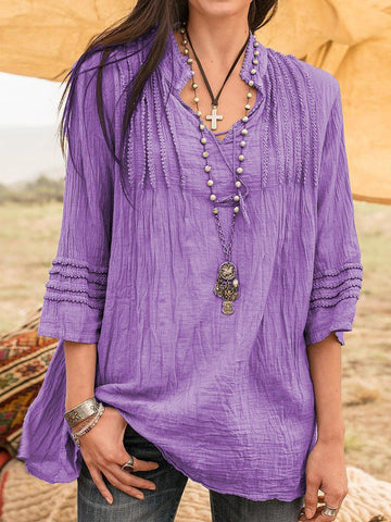 Boho Guipure Stand Collar Lace Linen Clothing Tunics for Women-Top-Wotoba-Purple-S-Wotoba