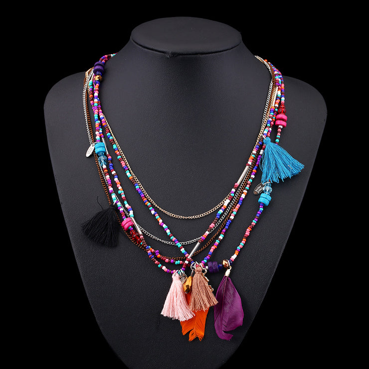 Handmade Bohemian Beaded Feather Necklace-ACC-Wotoba-Multicolor-One-size-Wotoba