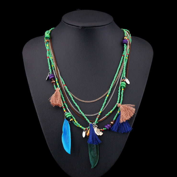 Handmade Bohemian Beaded Feather Necklace-ACC-Wotoba-Green-One-size-Wotoba