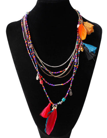 Handmade Bohemian Beaded Feather Necklace-Accessories-Wotoba-Wotoba