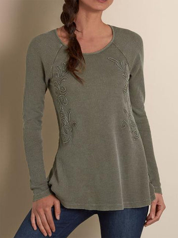 Women Long Sleeve Cotton Casual Tops-Top-Wotoba-Khaki-S-Wotoba