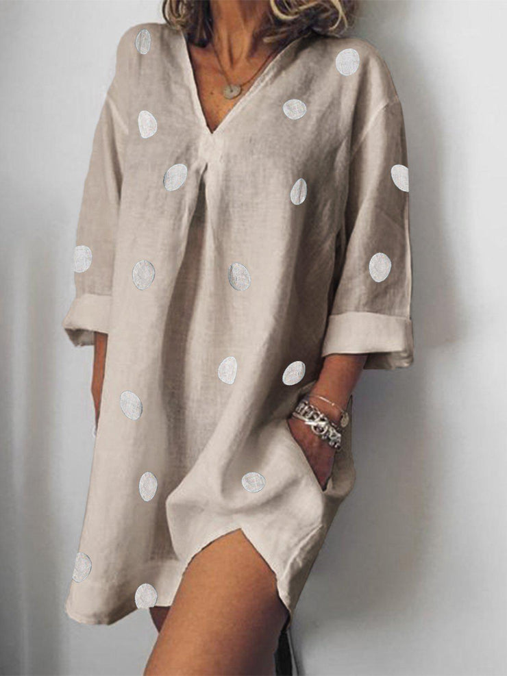Daily Casual Cotton Polka Dots V-Neck Loose Dress-dress-Wotoba-Khaki-S-Wotoba