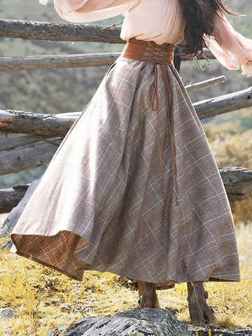 Plaid Skirt Vintage Lace Up Long Skirt for Women-dress-Wotoba-Brown-S-Wotoba