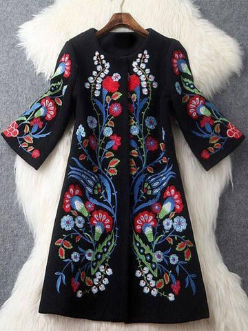 Plus Size Long Sleeve Floral Outerwear-Top-Wotoba-Black-S-Wotoba