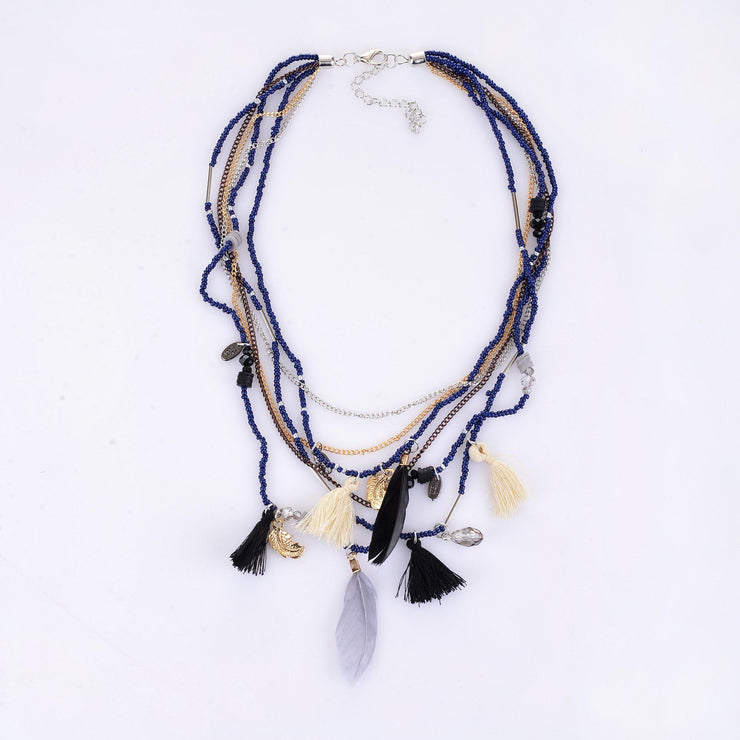 Handmade Bohemian Beaded Feather Necklace-ACC-Wotoba-Navy Blue-One-size-Wotoba