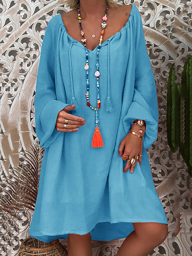 Daytime Long Sleeve Summer Solid Shift Loose Dress-dress-Wotoba-Blue-S-Wotoba