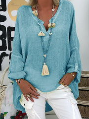 Summer Long Sleeve Casual Solid Loose Shirt-TOPS-Wotoba-Sky Blue-S-Wotoba