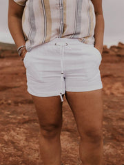 Casual Plus Size Solid Shorts With Pockets-Bottom-Wotoba-White-S-Wotoba