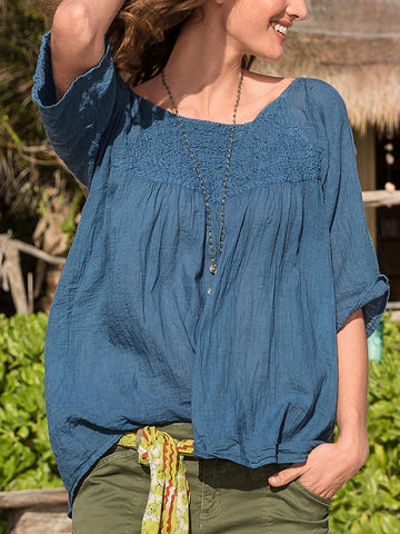 Women Half Sleeve Solid Color Loose Casual Top-Top-Wotoba-Blue-S-Wotoba