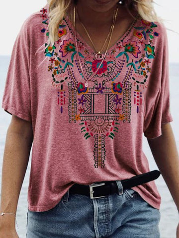 Women Vintage Blouse V Neck Boho Floral Casual-Top-Wotoba-Red-S-Wotoba