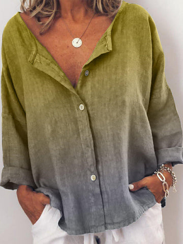 Plus Size V Neck Casual Long Sleeve Tops-Top-Wotoba-Yellow-S-Wotoba