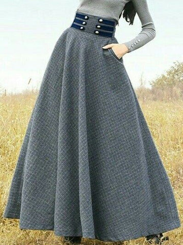 Vintage Skirts High Waisted Plus Size Long Skirt-dress-Wotoba-Gray-S-Wotoba