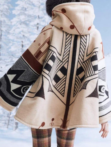 Women Aztec Coat Hooded Fall&Winter Vintage Plus Size-Top-Wotoba-Beige-S-Wotoba