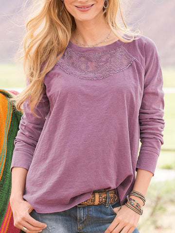 Purple Round Neck Long Sleeve Shirts & Tops
