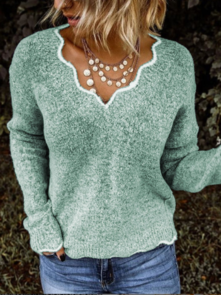 Women Sweaters V neck Solid Knitted Loose Plus Size Pullover Sweaters Plus Size-TOPS-Wotoba-Green-S-Wotoba