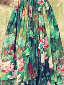 Women Long Skirts Vintage Cotton-Blend Floral Pleated Skirt Plus Size