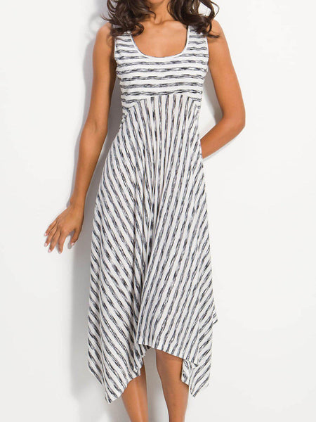 High-rise Stripes A-Line Cotton Crew Neck Dress-dress-Wotoba-White-S-Wotoba