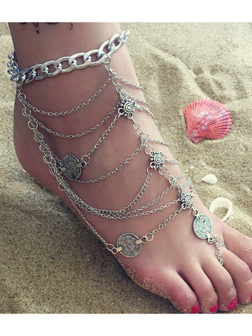 Women Fashion Tassel Anklets Multi-layer Pretty Anklets