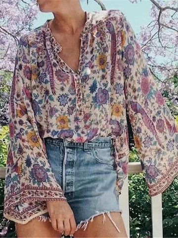 V Neck Boho Patchwork Buttoned Blouse-Top-Wotoba-As Picture-S-Wotoba