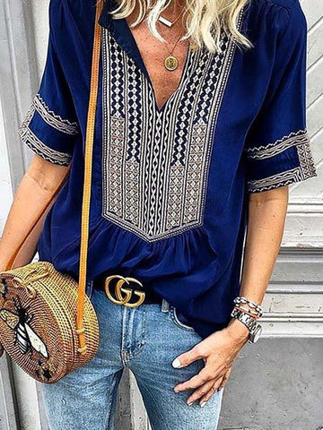 Casual Printed Short Sleeve V neck Tribal Plus Size Blouses-Top-Wotoba-Deep Blue-S-Wotoba