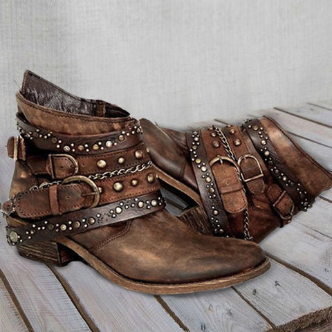 Pu Rivet Summer Boots-Shoe-Wotoba-Brown-35-Wotoba