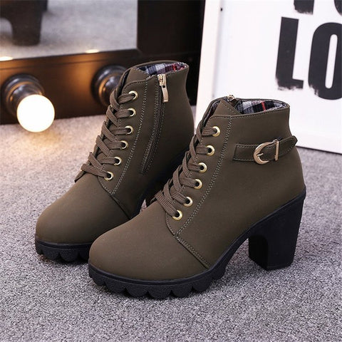 High Heel Artificial Leather Winter Outdoor Boot-Shoe-Wotoba-Green-35-Wotoba