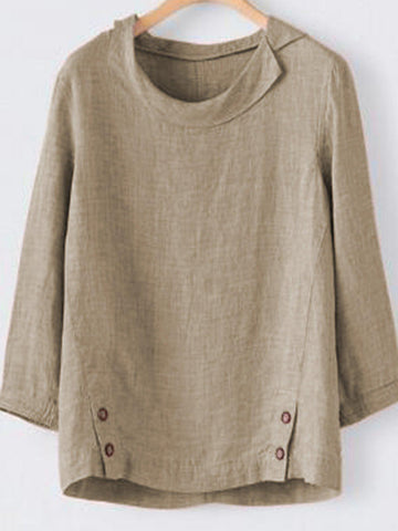 Casual 3/4 Sleeve Round Neck Buttoned Shirt-Top-Wotoba-Khaki-S-Wotoba