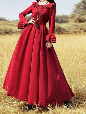 Ruffled Long Sleeve Dresses Plain Vintage Crew Neck Dresses-dress-Wotoba-Red-S-Wotoba