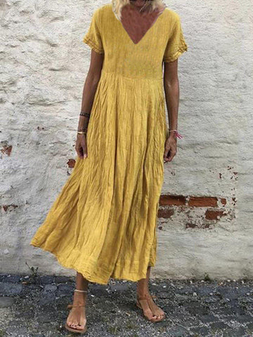 Short Sleeve Cotton-Blend Summer Holiday V Neck Plain Dresses-dress-Wotoba-Yellow-S-Wotoba